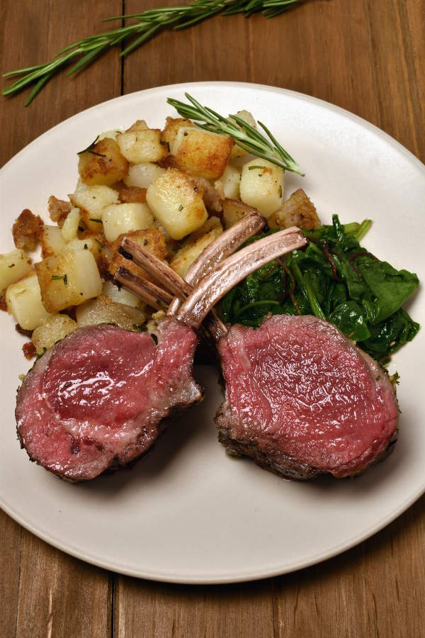 Roast Rack of Lamb with Rosemary Fried Potatoes | WednesdayNightCafe.com