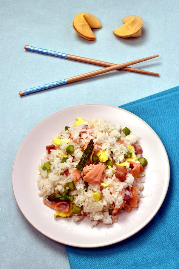 Smoked Salmon and Asparagus Fried Rice| WednesdayNightCafe.com