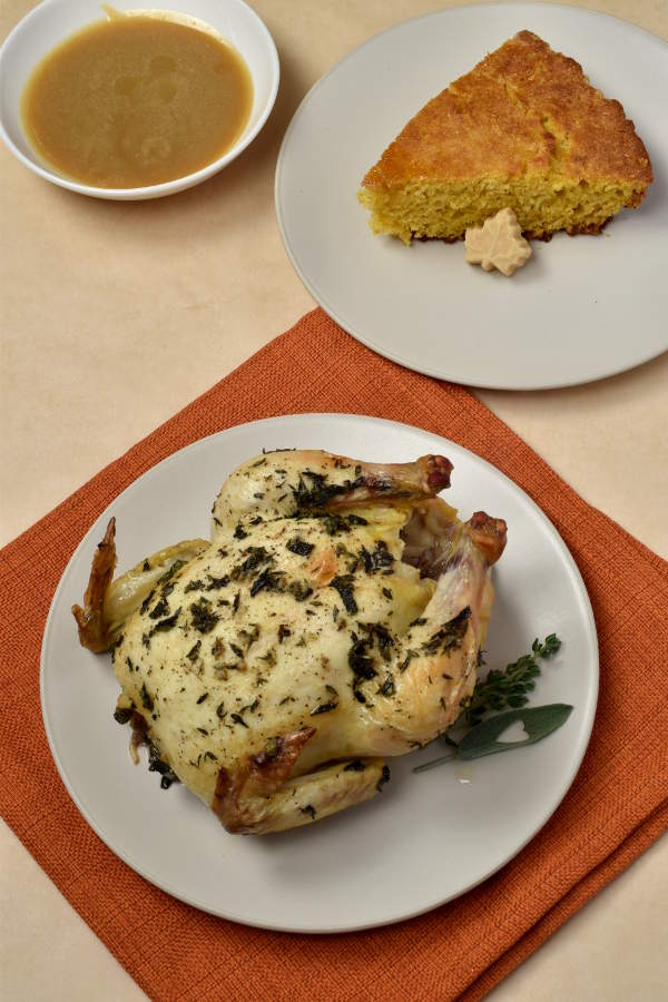 Roast Cornish Hens with Maple Butter Skillet Cornbread