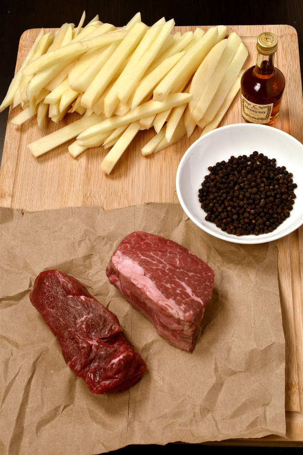 Steak au Poivre (Peppercorn-Crusted) with Oven Fries| WednesdayNightCafe.com