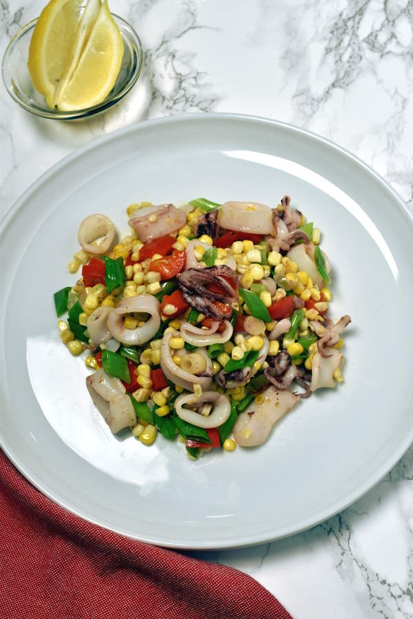 Sautéed Calamari Corn Salad| WednesdayNightCafe.com