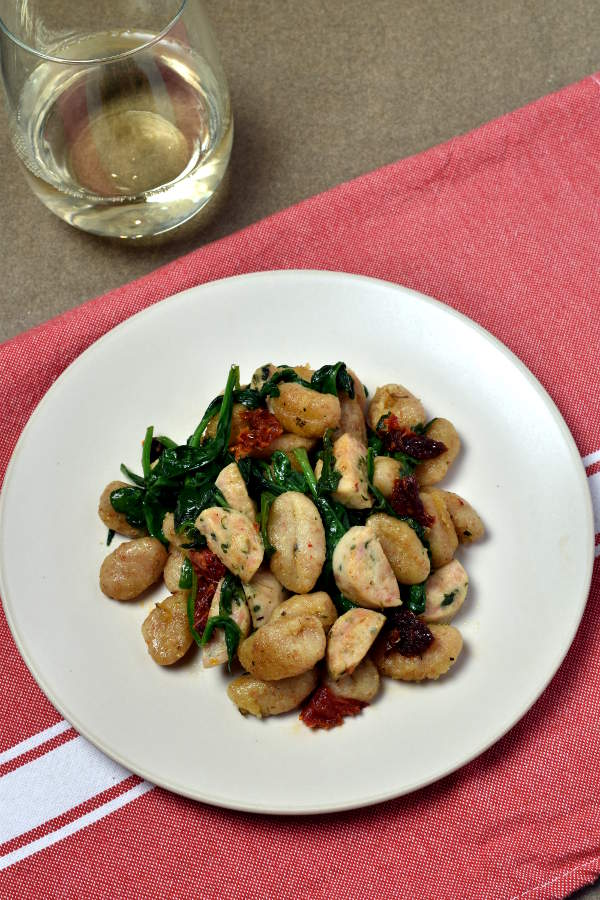 Crispy Gnocchi Skillet with Chicken Sausage| WednesdayNightCafe.com