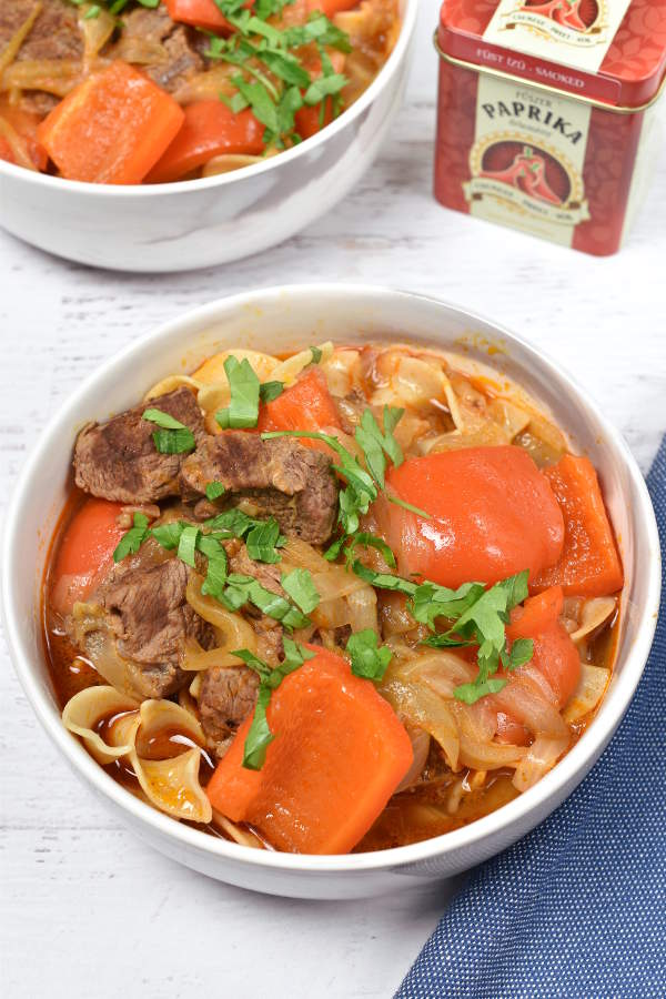 Hungarian Beef Goulash with Egg Noodles| WednesdayNightCafe.com