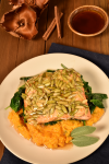Pumpkin Seed Crusted Salmon with Sweet Potato Mash | WednesdayNightCafe.com