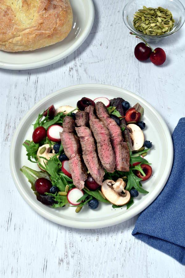 Steak Salad with Cherries and Blueberries| WednesdayNightCafe.com