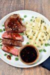 Teriyaki Glazed Steak with Fried Rice Waffles   WednesdayNightCafe.com