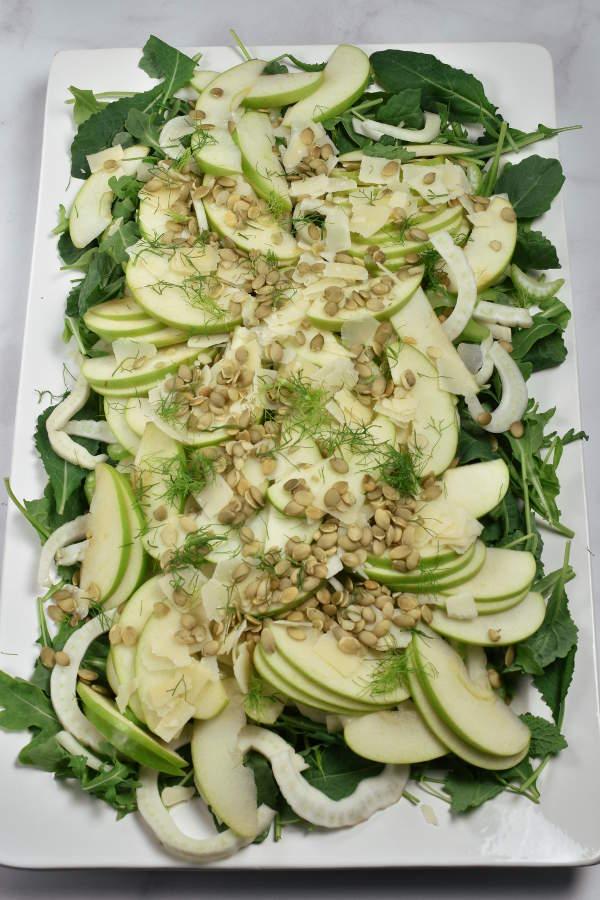 Apple Fennel Salad on a serving platter